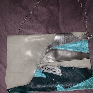 Handbags - Leather Shoulder Bag Blue/Gray Silver Chain